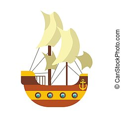 Pirates ship with sail canvas, deck and anchor at stern of...