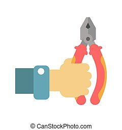Flat-nose pliers in human hand vector illustration isolated on white