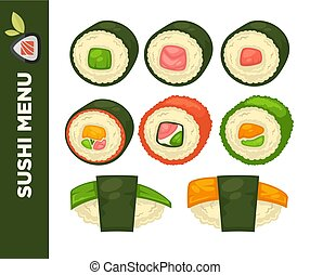 Sushi food colorful vector flat collection on white