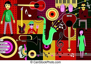 Abstract Music collage background - vector illustration of...