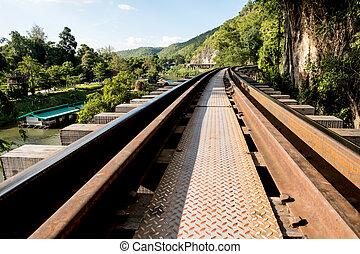 Railway bridge over the river in Kanchanaburi province...