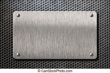 metal plate over comb grid background 3d illustration