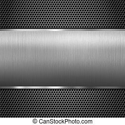 metal panel over hexadecimal grid - aluminum metal panel...