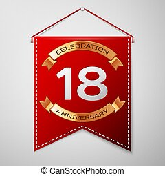Red pennant with inscription Eighteen Years Anniversary...