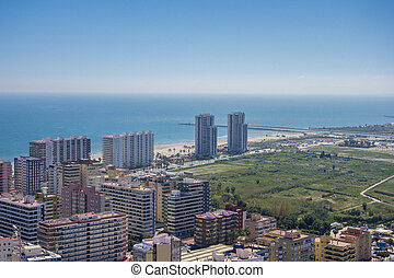 Aerial view of mediterranean tourist town of Cullera....
