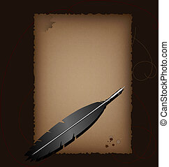 Old paper and antique pen - on a brown background with a...