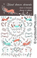 Set of hand drawn design elements ribbons, flowers branches