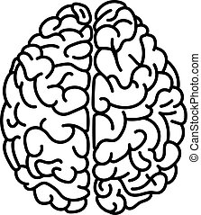 Flat style human brain top view doodle illustration