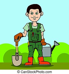 Happy gardener standing with his garden tool. Shovel and watering can.