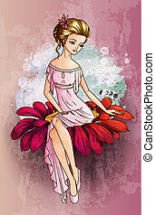 Fairytale character Thumbelina siting on the flower
