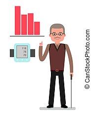 An elderly man points to chart raise blood pressure, close...