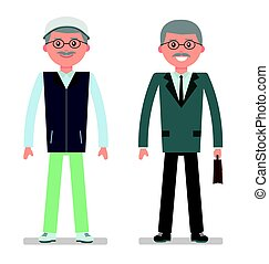 Elderly businessman in a business suit and a tracksuit for the game of Golf.
