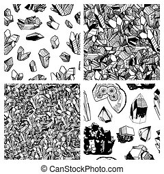 Set of mineralogy patterns. Black and white crystals and...