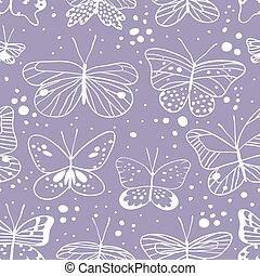 Seamless pattern with butterfly. Hand drawn vector...