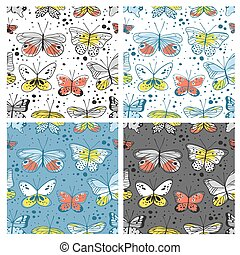 Set of seamless pattern with butterfly. Hand drawn vector...