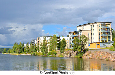 Embankment in Lappeenranta at ssummer. - Embankment in...