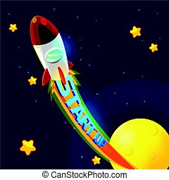 Red Rocket Business Space Fly Vector