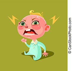 Angry unhappy naughty little child character screaming and...