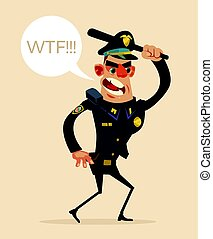 Angry screaming policeman character holds weapons and attack. Vector flat cartoon illustration