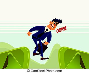 Businessman office worker character jumps over ravine and...
