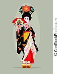 Japanese beautiful geisha character hold fan. Vector flat cartoon illustration