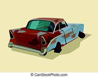Old rusty broken car. Vector flat cartoon illustration