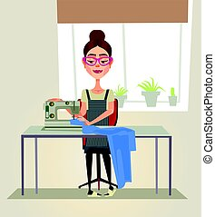 Happy smiling designer seamstress woman character sewing on...