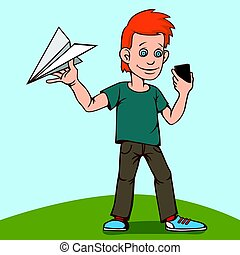 The child was playing with a paper airplane, but was distracted by a smartphone.