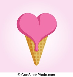 Ice cream in the shape of heart