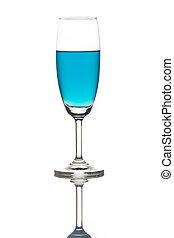 Blue cocktail, sparkling wine.