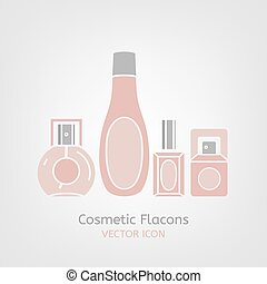 Cosmetic Flacon Icon - Cosmetic flacons image in light pink...
