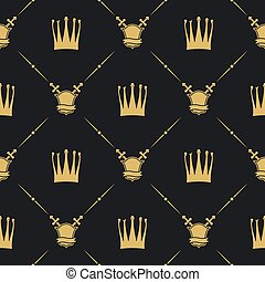 Crown with sword and shield seamless pattern