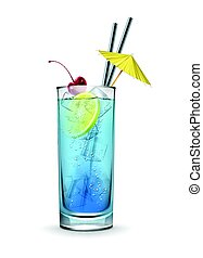Blue lagoon cocktail - Vector Blue lagoon cocktail garnished...