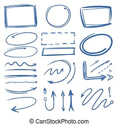 Marker circles, pointing arrows, frames doodle collection