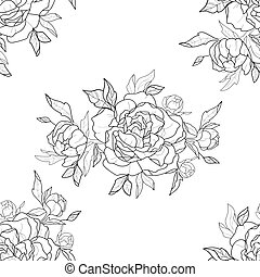 Seamless beautiful pattern of flowers on a white background.