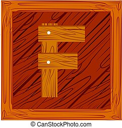 wooden block alphabet F letter icon isolated on white...