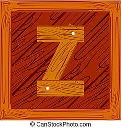 wooden block alphabet Z letter