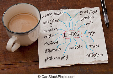 ethics related topics - cloud of words related to ethics on...