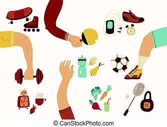 Team play, sport, dieting, fitness and nutrition Healthy...
