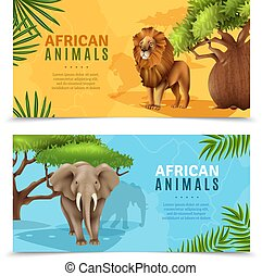 Safari Animals Horizontal Banners - Safari animals...