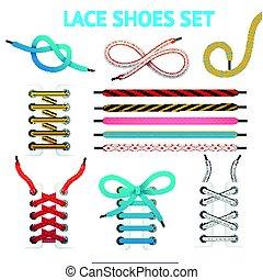 Colorful Shoelace Icon Set - Isolated colorful shoelace icon...