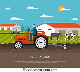 Agrimotor Works Farm Composition - Farm background with flat...