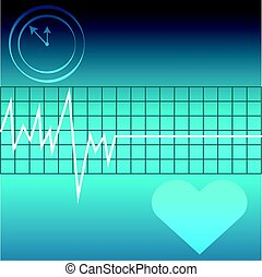 Ecg with heart and clock on blue background
