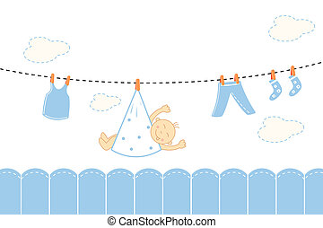 baby boy arrival announcement card - illustration of baby...