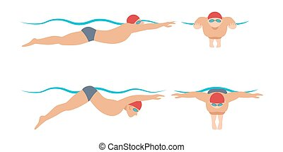 Vector illustration of swimming style scheme different...