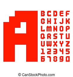 Pixel retro font red computer game design 8 bit letters...