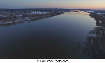 Flying over the beautiful river in high water - Aerial view...