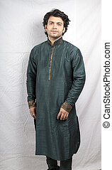 indian male model in green kurta front pose