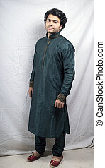 indian model in green traditional kurta side pose