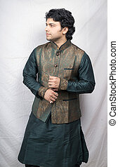 young male model in kurta side pose